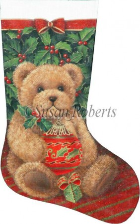 click here to view larger image of Holly Bear Stocking - 13ct (hand painted canvases)