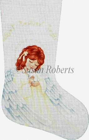 click here to view larger image of Angel and Bunny Stocking (hand painted canvases)