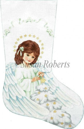 click here to view larger image of Angel and Christmas Tree Stocking (hand painted canvases)