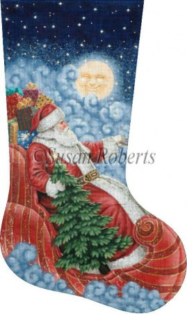 click here to view larger image of Moonlight Santa Stocking - 13ct (hand painted canvases)