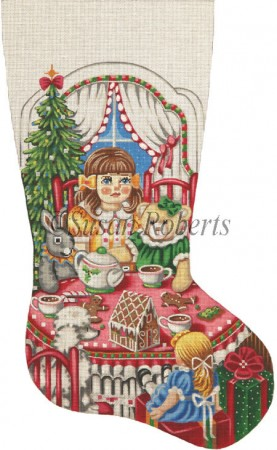click here to view larger image of Christmas Tea Party Stocking - 13ct (hand painted canvases)