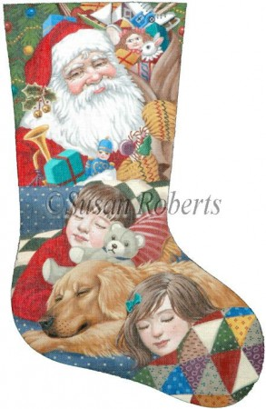 click here to view larger image of Christmas Eve Stocking (hand painted canvases)