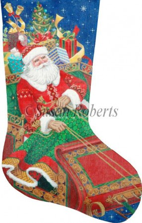 click here to view larger image of Santa's On His Way Stocking - 13ct (hand painted canvases)