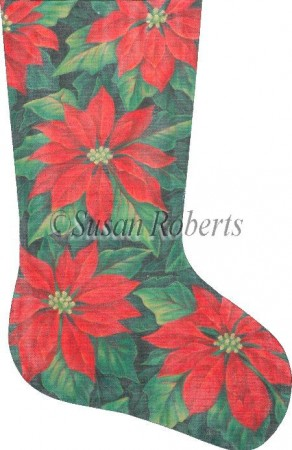 click here to view larger image of Red Poinsettias Stocking (hand painted canvases)