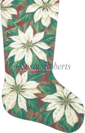 click here to view larger image of White Poinsettia Stocking (hand painted canvases)