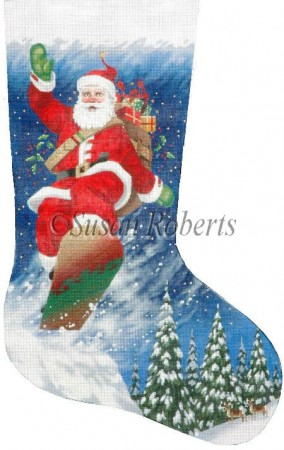 click here to view larger image of Snowboarding Stocking - 13ct (hand painted canvases)