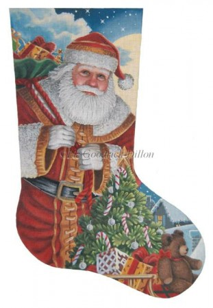 click here to view larger image of Santa Moonlit Arrival Stocking (hand painted canvases)