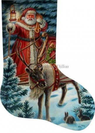 click here to view larger image of Night Time Greeting Stocking - 13ct (hand painted canvases)