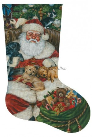 click here to view larger image of Sleeping Santa With Puppies and Kittens Stocking (hand painted canvases)