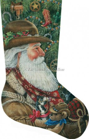 click here to view larger image of Western Santa Stocking (hand painted canvases)