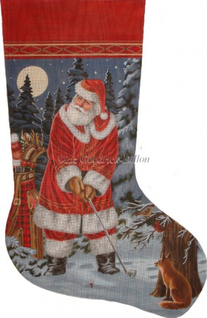 click here to view larger image of Long Coat Golfing Santa (hand painted canvases)