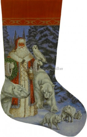 click here to view larger image of Arctic Red Coat Santa In Forest Stocking (hand painted canvases)