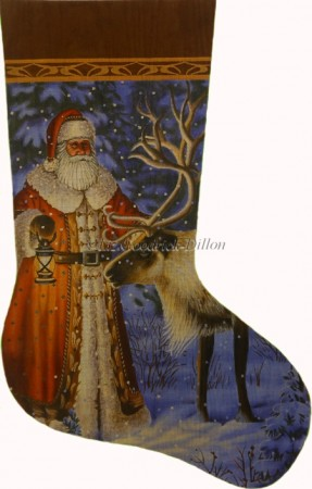 click here to view larger image of Santa Find Reindeer Stocking (hand painted canvases)