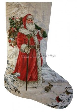 click here to view larger image of Wilderness Santa Stocking (hand painted canvases)