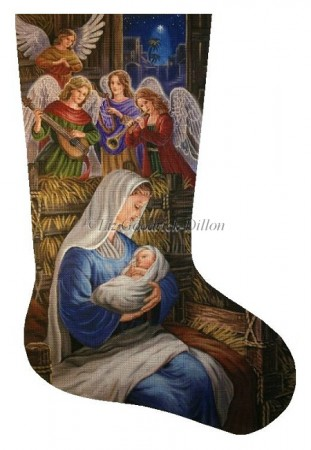 click here to view larger image of Madonna and Angels Stocking (hand painted canvases)