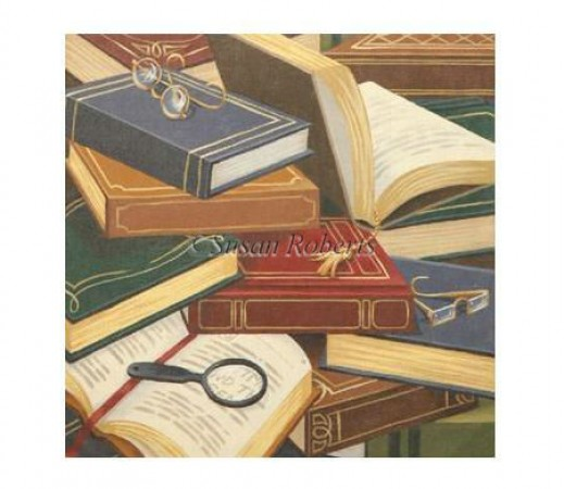 click here to view larger image of Book Collage Pillow - 13ct (hand painted canvases)