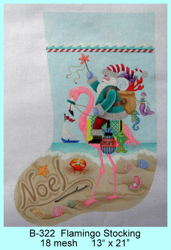 click here to view larger image of Flamingo Stocking (hand painted canvases)