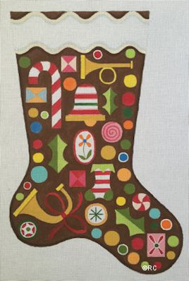 click here to view larger image of Gingerbread Stocking (hand painted canvases)