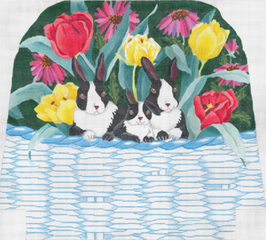 click here to view larger image of Bunnies In A Basket With Flowers (hand painted canvases)