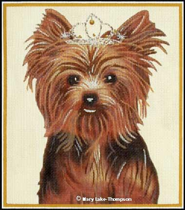 click here to view larger image of Yorkie Princess (hand painted canvases)