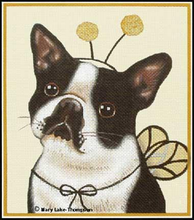 click here to view larger image of Boston Terrier Bee (hand painted canvases)