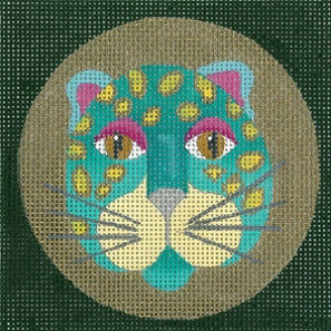 click here to view larger image of Leopard Coaster - Turquoise (hand painted canvases)