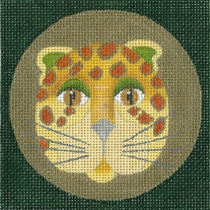 click here to view larger image of Leopard Coaster - Yellow (hand painted canvases)