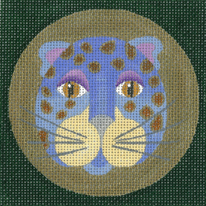 click here to view larger image of Leopard Coaster - Blue (hand painted canvases)