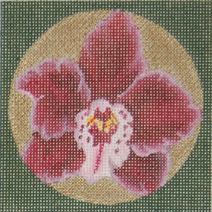 click here to view larger image of Orchid Coaster - Burgundy (hand painted canvases)