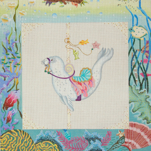 click here to view larger image of Fantasy Sealife Carousel - Baby Seal (hand painted canvases)