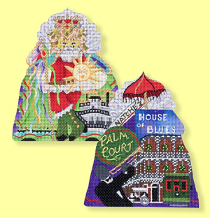 click here to view larger image of New Orleans Mardi Gras Santa - 24ct (hand painted canvases)