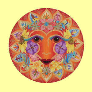 click here to view larger image of Sun Mask with Flowers - 18ct (hand painted canvases)