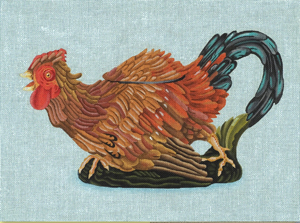 click here to view larger image of Majolica Rooster Teapot (hand painted canvases)