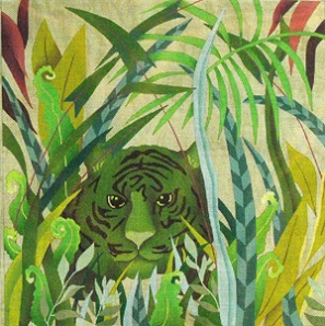 click here to view larger image of Camouflaged Green Tiger (hand painted canvases)