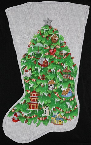 click here to view larger image of Bird Houses Stocking (hand painted canvases)