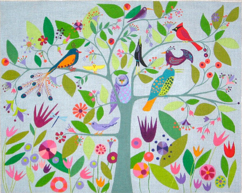 click here to view larger image of Many Birds - 13ct (hand painted canvases)