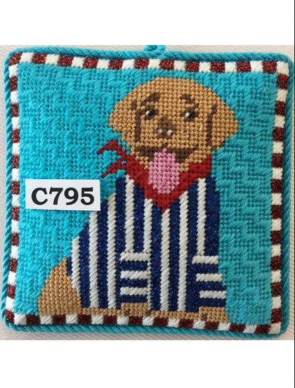 click here to view larger image of Sporty Labrador (hand painted canvases)