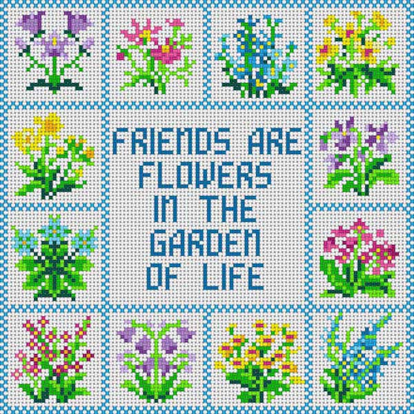 click here to view larger image of Friends / Flowers (hand painted canvases)