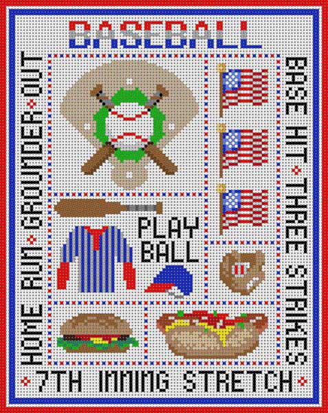click here to view larger image of Baseball Sampler (hand painted canvases)