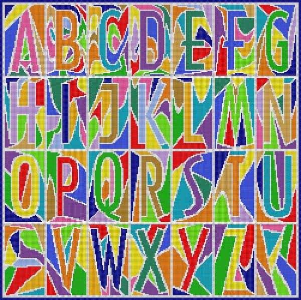click here to view larger image of Abstract Alphabet Primary (hand painted canvases)