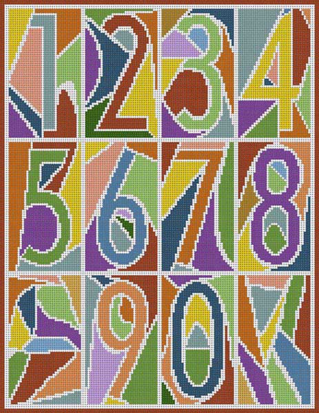 click here to view larger image of Abstract Numbers Muted (hand painted canvases)