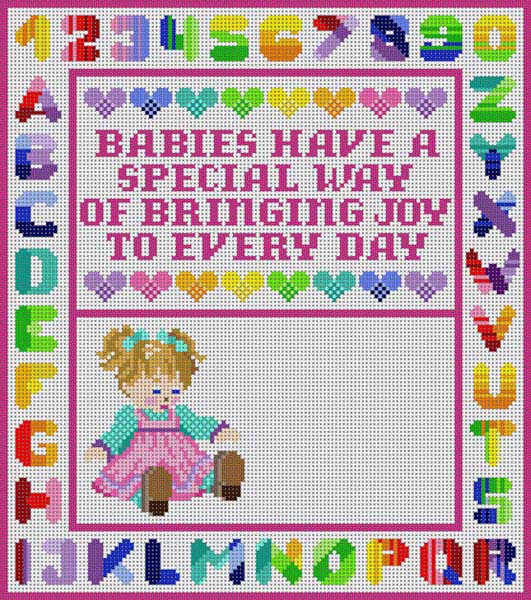 click here to view larger image of Birth Announcement Girl (hand painted canvases)