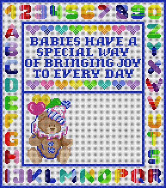 click here to view larger image of Birth Announcement Boy (hand painted canvases)