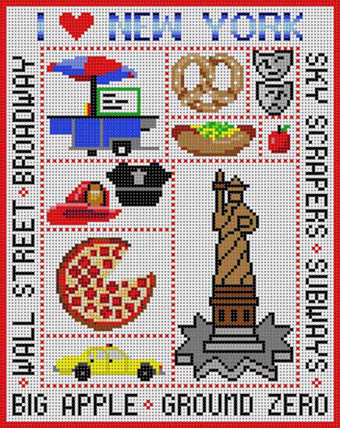 click here to view larger image of New York Sampler (hand painted canvases)