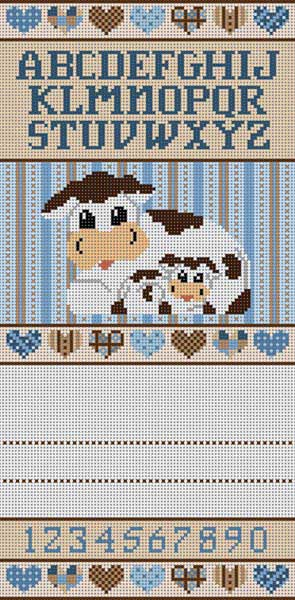click here to view larger image of Cow Birth Announcement (hand painted canvases)