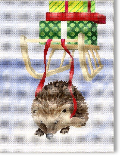 click here to view larger image of Hedgehog With Packages (hand painted canvases)