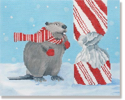 click here to view larger image of Beaver With Candy (hand painted canvases)