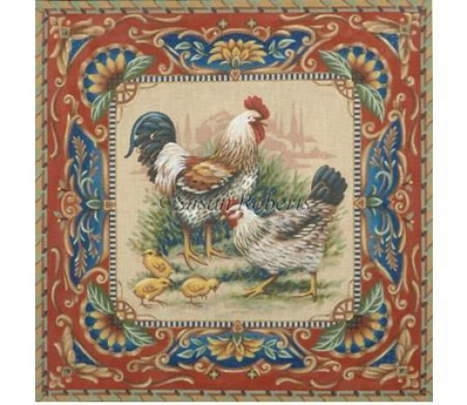 click here to view larger image of Rooster Hen and Chicks (hand painted canvases)
