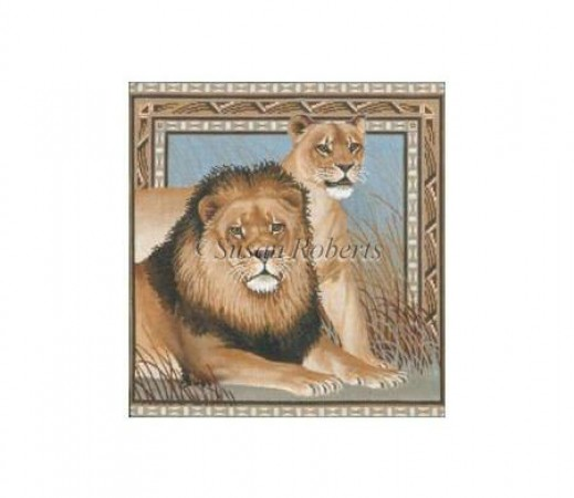 click here to view larger image of Male and Female Lion (hand painted canvases)