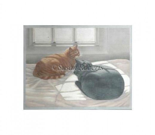 click here to view larger image of Sun Bathing Cats (hand painted canvases)